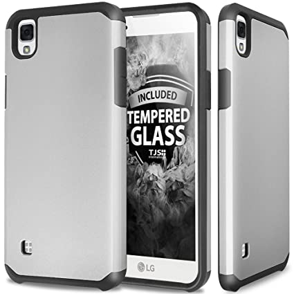 LG Tribute HD Case, LG X Style LS676 Case With TJS Tempered Glass Screen  Protector Included, Ultra Thin Slim Hybrid Shockproof Drop Protection  Impact