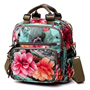 XMSS Floral Diaper Bag Cute Mommy Backpack Crossbody Baby Bags for Women (GreenFlower)