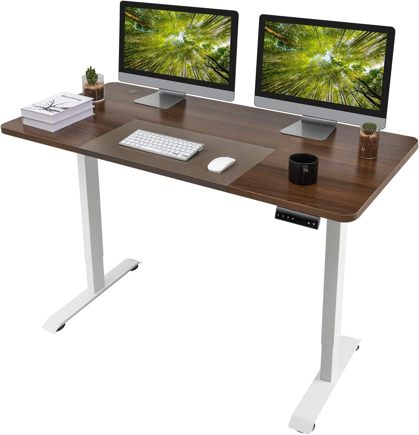 Homall Electric Height Adjustable Standing Desk 55 x 28 Inches Computer Desk Stand Up Home Office Workstation Desk T-Shaped Metal Bracket Desk with Wood Tabletop and Memory Settings (Nut-Brown)