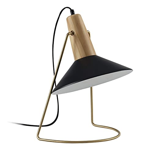 Ambiore Table Lamp with Complimentary Bulb Matt Contemporary Indoor Lamp for Bedroom, Living Room, Nightstand, Bedside Home Office Desks Steel matt Black Shape with Brass Wood Frame Black
