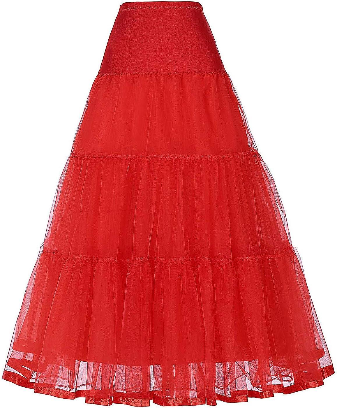 HaoHuodress Donna Sottogonna 50s Retro Gonna Lunga di Tulle Elastico in Vita Crinoline Petticoat