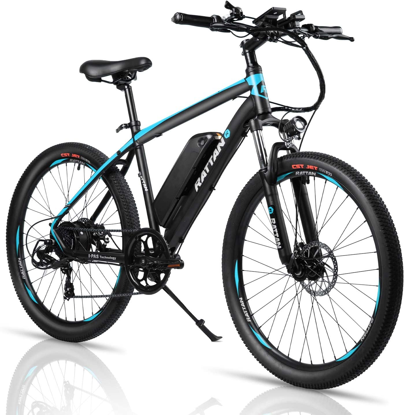Rattan 26 inch Electric Mountain Bicycle 7 Speed E-Bike 36V 10.4Ah Lithium Battery 350W Electric Bike Max 80 Miles Adult Assisted E-Bike