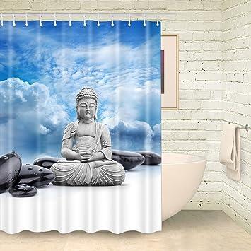Foog Duschvorhang Buddha Yoga Stein Weiß Blau Shy Badezimmer Curtans Mit  Haken, Blau / Weiß