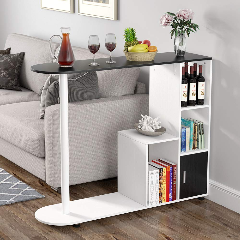 Tribesigns Pub Table with Storage Shelves, Modern Bar Table Bistro Table with Door for Kitchen, Counter Height Dining Kitchen Table for Dining Area by Tribesigns