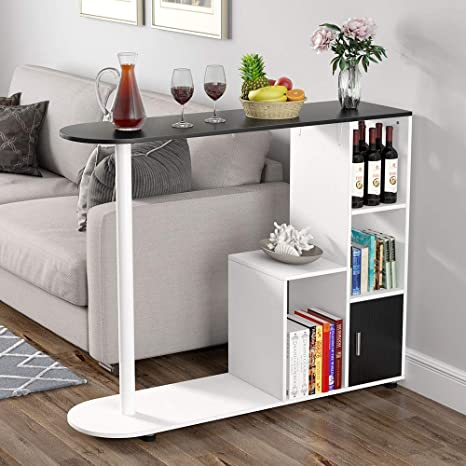 Tribesigns Pub Table with Storage Shelves, Modern Bar Table Bistro Table  with Door for Kitchen, Counter Height Dining Kitchen Table for Dining Area