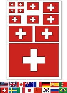 JBCD Switzerland Flags Vinyl Decal Swiss Patriotic Flag Stickers Car Truck Window Decal Pride Decorations Bumper Sticker UV Resistant Weatherproof for Parties Sport Events Celebrations