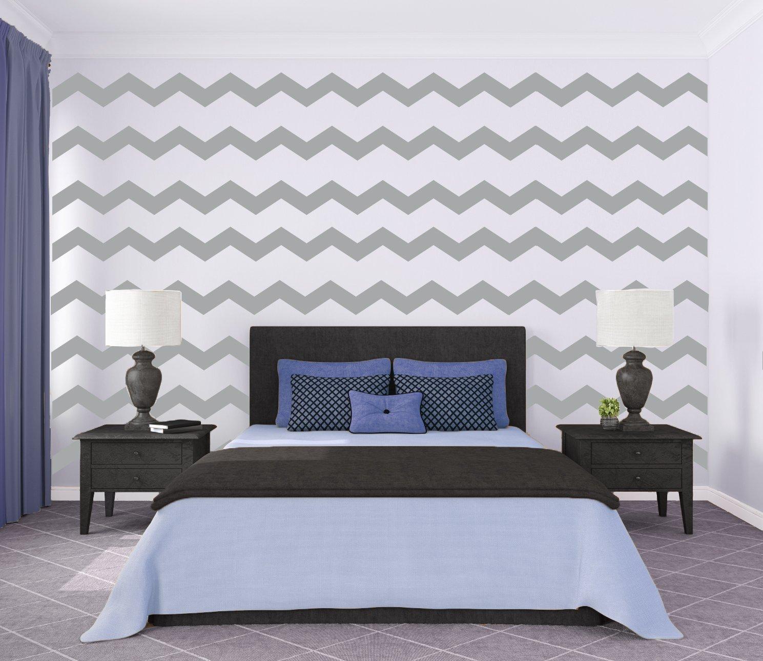 Amazon 4 Large Grey Chevron Wall Pattern Vinyl Wall Art