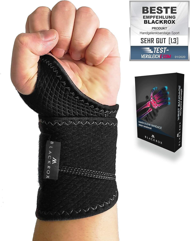 Blackrox – Muñequera para fitness, vendaje de muñeca, crossfit, muñequeras, vendaje para pulgar, entrenamiento de fuerza, muñequera que se adapta a izquierda y derecha, transpirable, entrenamiento de
