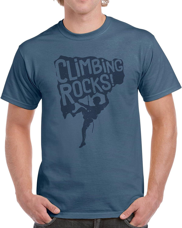 Camiseta de algodón para hombre, diseño gráfico «Climbing Rocks!»