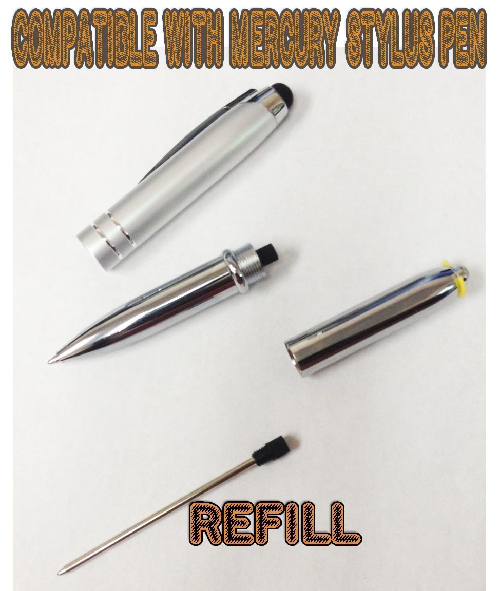 Stylus pen black''ink refills'' for the SyPen 3 In 1 Multi-Function Capacitive Stylus Ball Point Metal Pen With LED Flashlight/Pen light(12-Pack) by SyPen (Image #2)