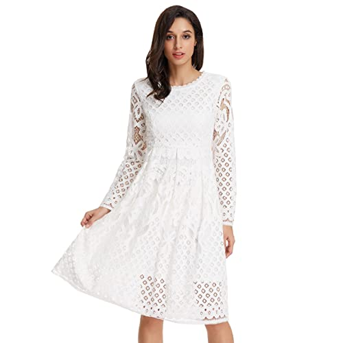 White Lace Sleeve Dress