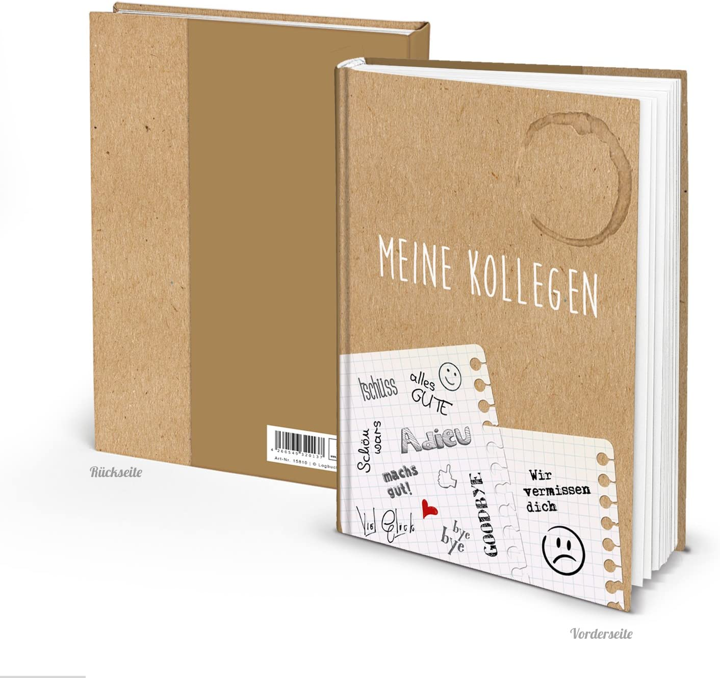 Libro de compañeros vintage DIN A4 en blanco, tapa dura, libro de despedida para compañeros, jubilación, cambio de trabajo, libro de amistad