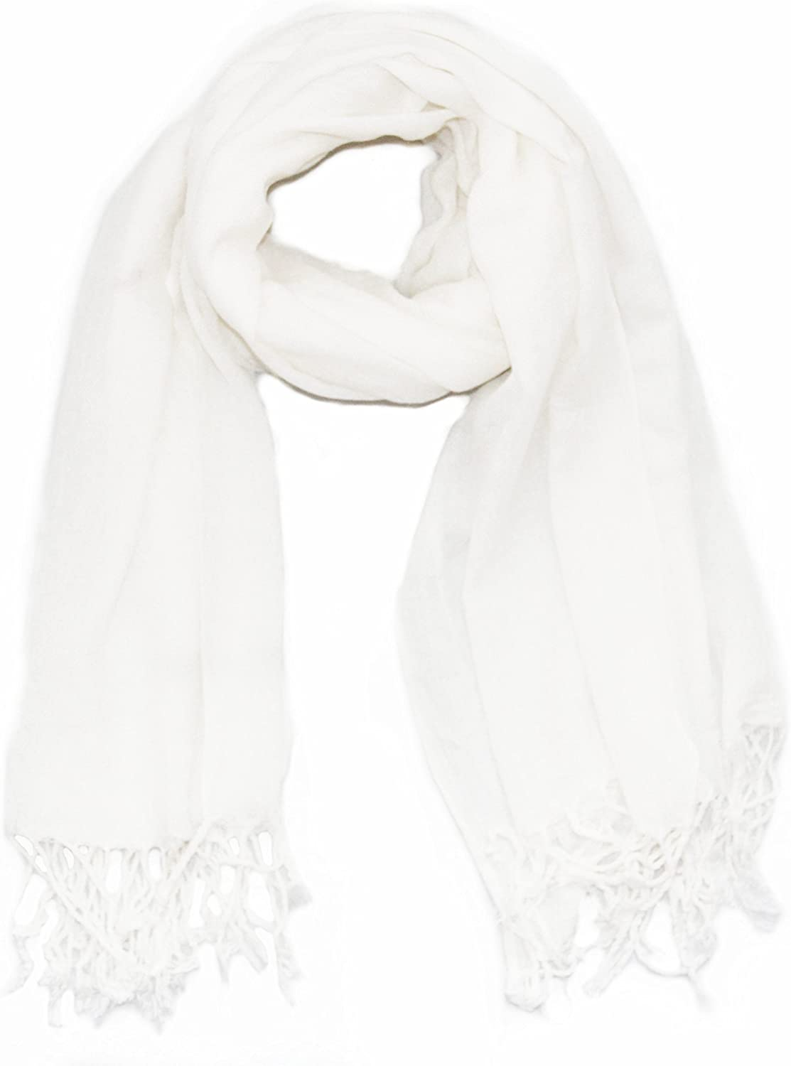 Soophen Pashmina Scarf Beautiful Solid Colors - White at  Women's Clothing store