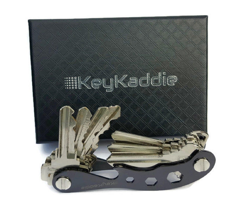 Key Holder │ Compact Key Organizer, Multitool Keychain and Bottle Opener including Durable Zinc Frame (Black), Anti Loosening Spacers & Screws -by KeyKaddie