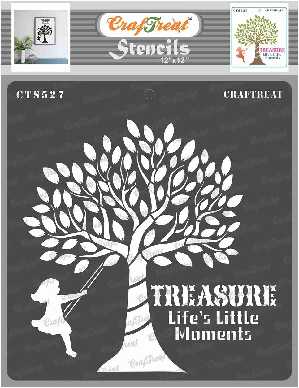 CrafTreat Stencils for painting on Wood, Canvas, Paper, Fabric, Floor, Wall and Tile - Life's Little Moments - 12x12 Inches - Reusable DIY Art and Craft Stencils for Home Decor - Stencils of Trees