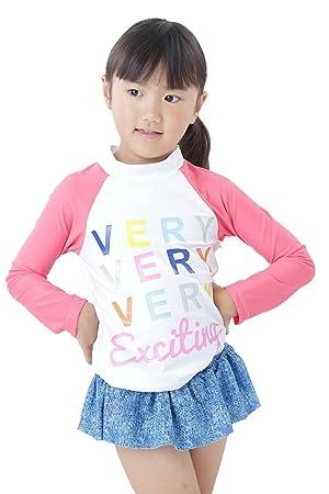 86836eb8fd43b Amazon.co.jp: 【Peach Kids】ピンクデニム 長袖 ラッシュガード 子供 ...