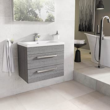 Newton Grey Oak Bathroom Wall Hung Vanity Unit Ceramic Sink 60cm ...