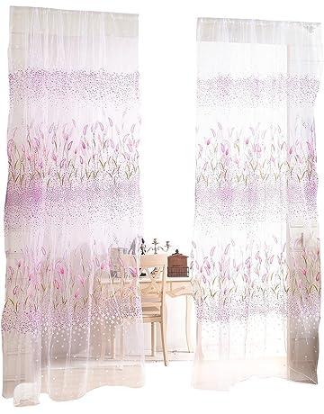 VORCOOL Pantalla de ventana de cortinas de hierba corta tela de gasa bufanda cubre cenefa para