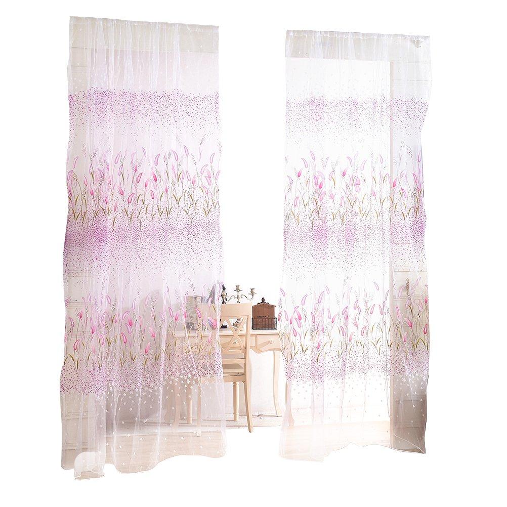 p/úrpura VORCOOL Pantalla de ventana de cortinas de hierba corta tela de gasa bufanda cubre cenefa para decoraci/ón habitaci/ón
