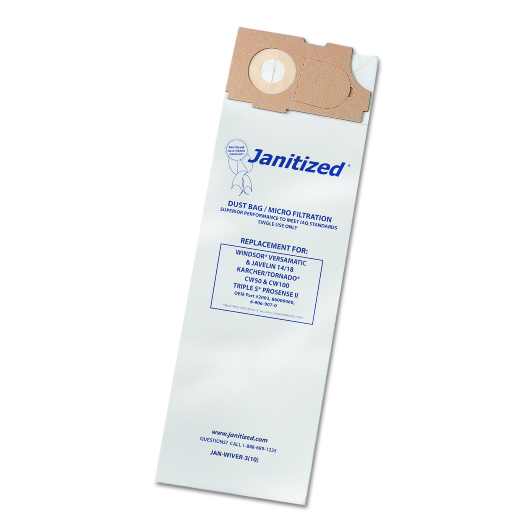 Janitized JAN-Wiver-3 Windsor Versamatic 3 Ply Bag (10 per Pack, Case of 10 Packs) by Janitized