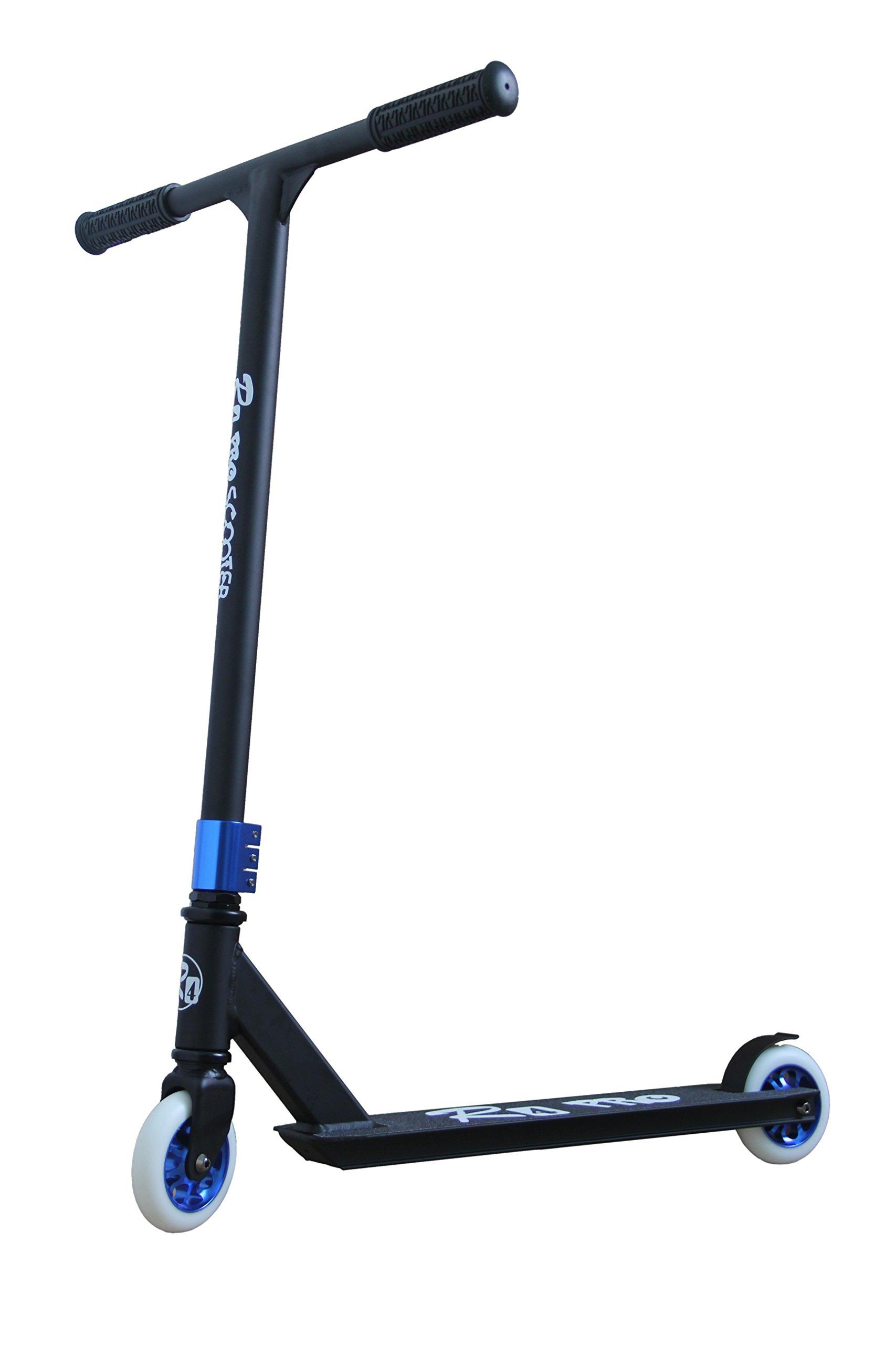 R4 Aluminum Pro 6061 Complete Stunt Scooter, Matte Black & Blue
