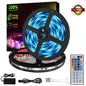 LED Strip Lights Waterproof 32.8ft RGB SMD 5050 LED Rope Lighting Color Changing Full Kit with 44 Keys Remote Controller and 12V Power Supply Strip Lights for Home Bed Room Kitchen Indoor Decoration