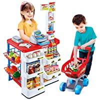 Twisha Enterprise Kids Role Pretend Playset Big Size Supermarket kit for Kids Toys with Shopping Cart and Sound Effects | Kitchen Set Kids Toys for Boys and Girls