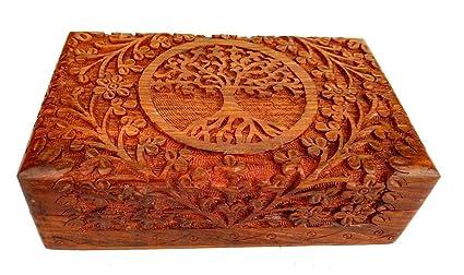 Rastogi Handicrafts – Fina caja de madera tallada con el diseño del árbol de la vida