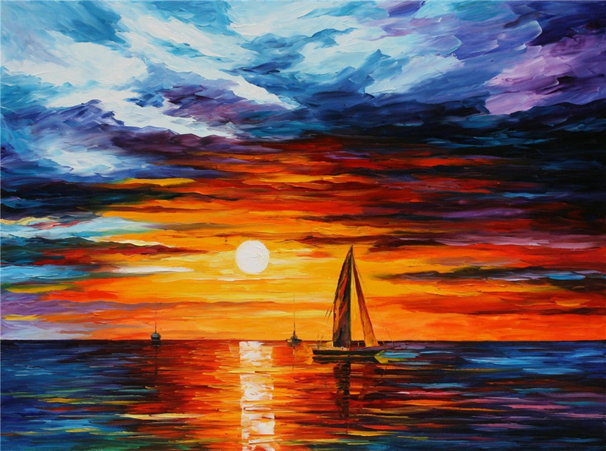 100% Hand Painted Oil Paintings Modern Painting Wall Decor A Sailboat in the Sun Contemporary Abstract Oil paintings (20X28 Inch, Abstract 1)