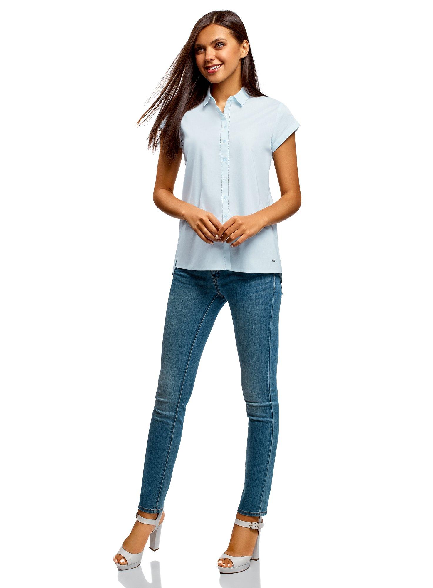 oodji Ultra Women's Short Sleeve Cotton Shirt with Turn-Ups, Blue, 2 by oodji (Image #6)