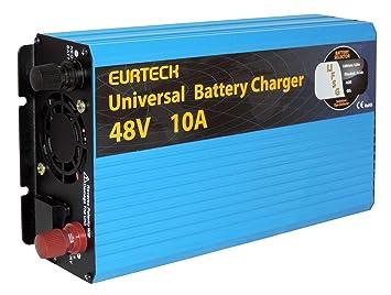Cargador 48 V 10 A x baterías AGM Gel ácido Litio: Amazon.es ...