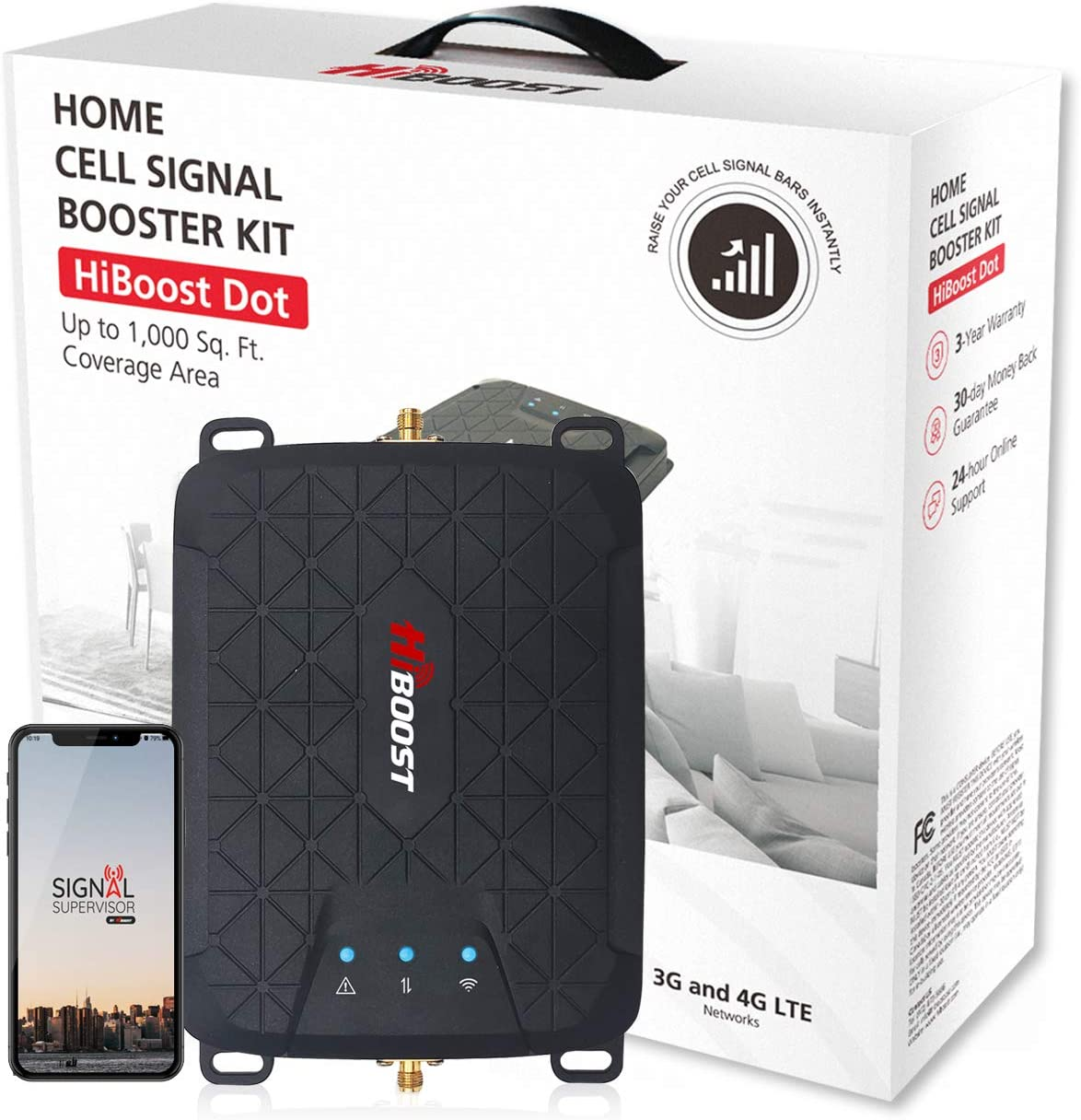 HiBoost Cell Signal Booster for Home Boost 4G LTE Data for Verizon AT&T and T-Mobile Band 12(17)/13/5 Cellular Repeater kit with High Gain Antennas and App Control