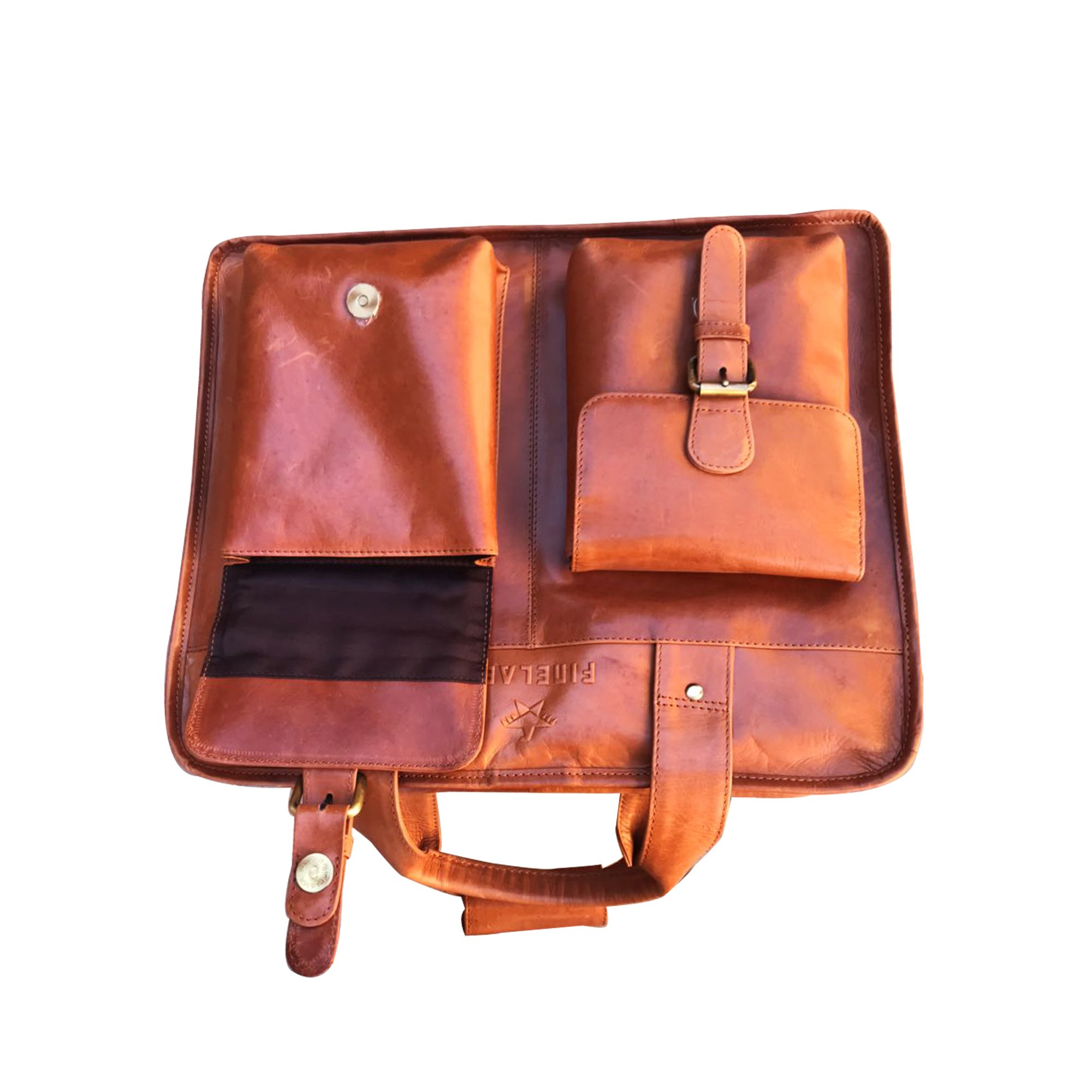 Finelaer Leather Laptop Computer Messenger Bag with Pockets for laptops Macbooks 14'' Brown by FINELAER (Image #4)