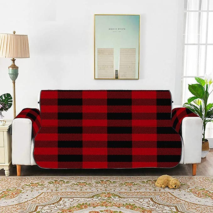 WYYWCY Sin Costura Rojo Negro Buffalo Plaid Lounge Chair ...