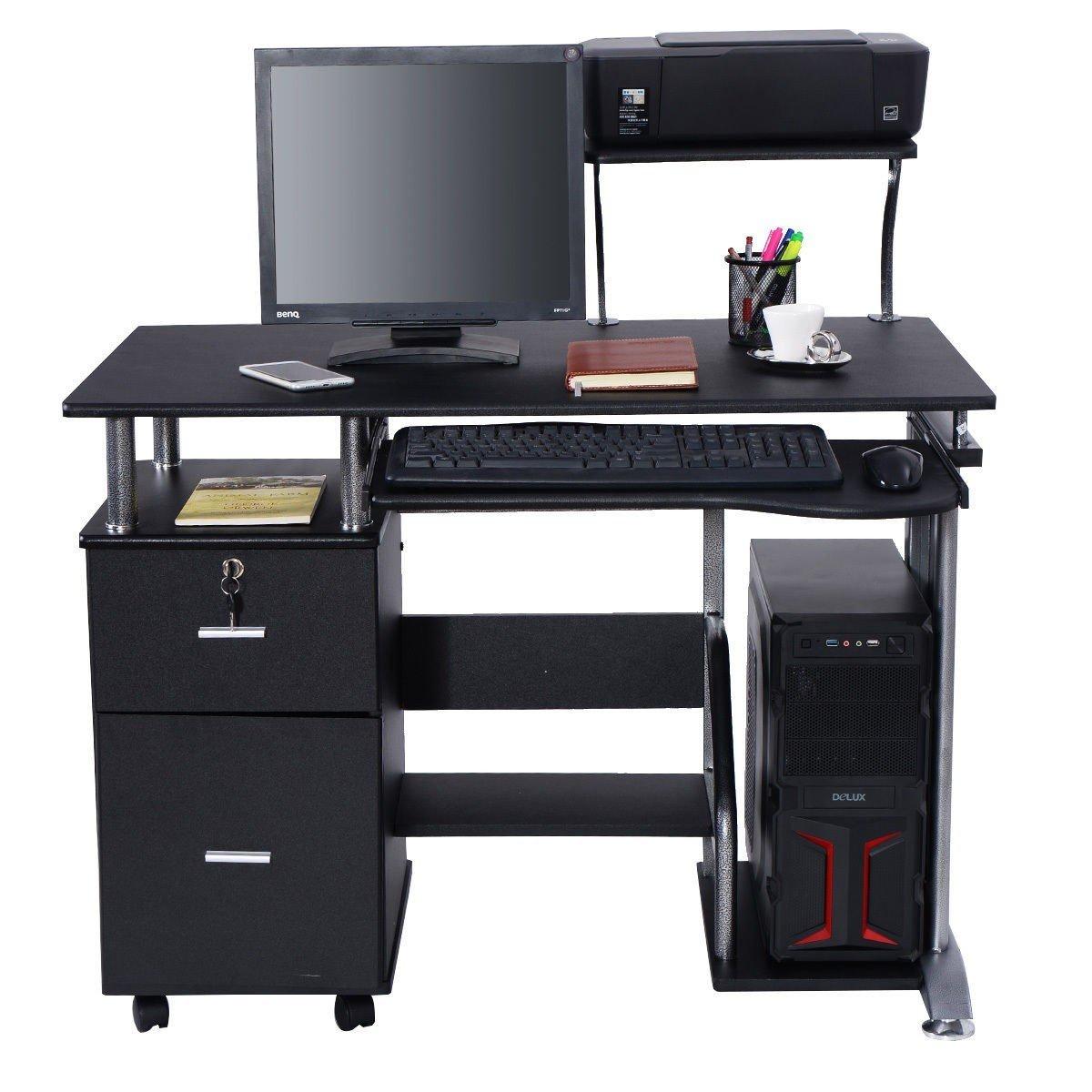 Black Computer Desk with Printer Shelf by Apontus (Image #1)