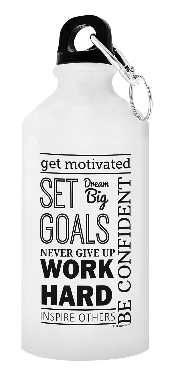 Get Motivated目標ワークアウトギフト設定アルミウォーターボトルキャップ&スポーツトップ B077DTVR7T 20 oz White 1