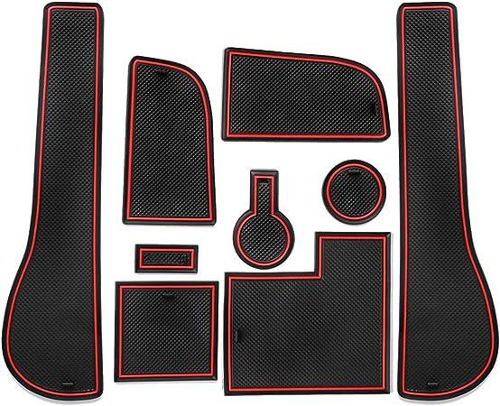 Cdefg Golf 7 R Gtd Gti Gte Auto Innere Türschlitz Rutschfest Anti Staub Becherhalter Matte Arm Box Aufbewahrung Pads Rot Auto