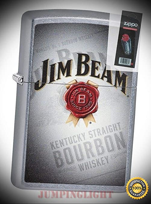 Amazon.com: 29571 Jim Beam Kentucky Bourbon Whiskey Chrome Lighter with Flint Pack - Premium Lighter Fluid (Comes Unfilled) - Made in USA!: