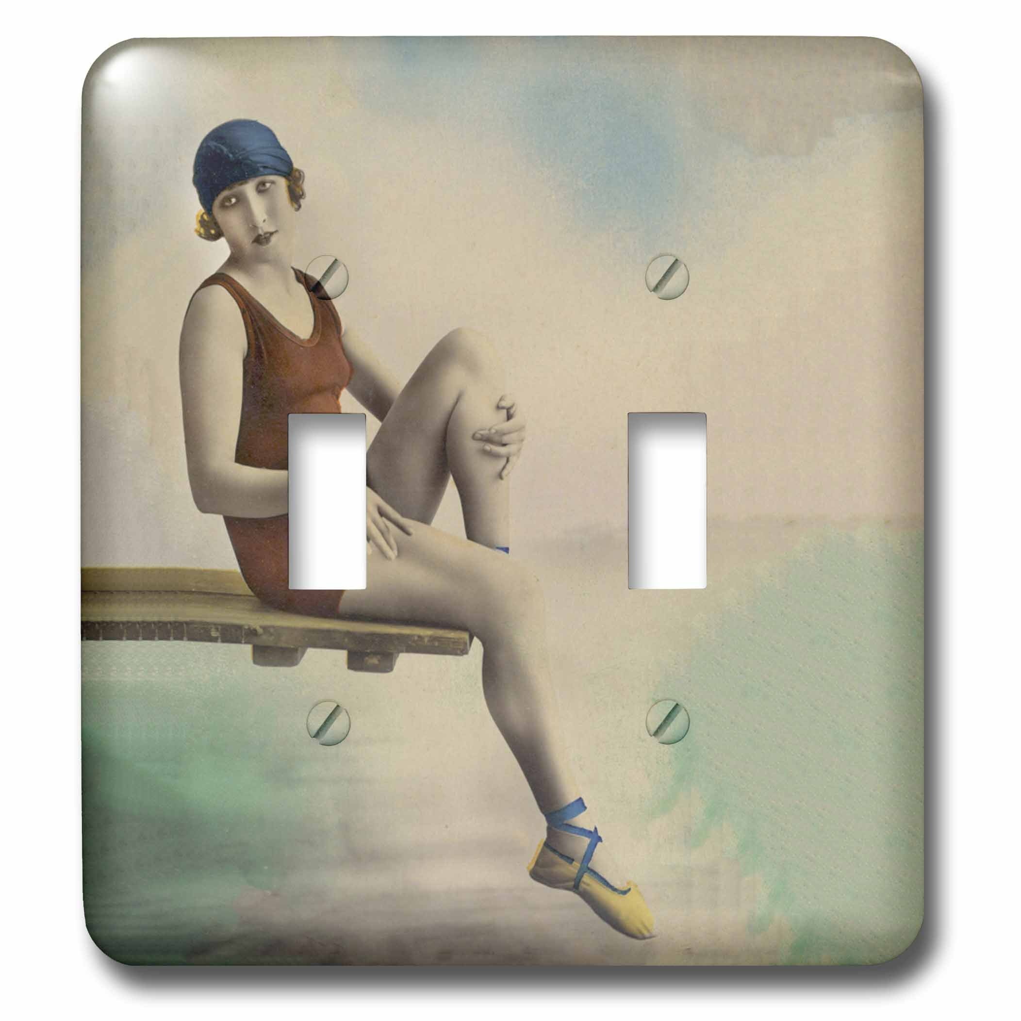 3dRose lsp_276299_2 Vintage Lady in Old Fashioned Swim Suit Toggle Switch, Multicolor