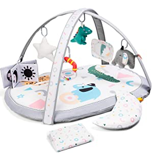 Lupantte 7 in 1 Baby Play Gym Mat with 2 Replaceable Washable Mat Covers Baby Activity Play Mat with 6 Toys, Visual, Hearing, Touch, Cognitive Development for Infant and Toddler, Thicker Non Slip
