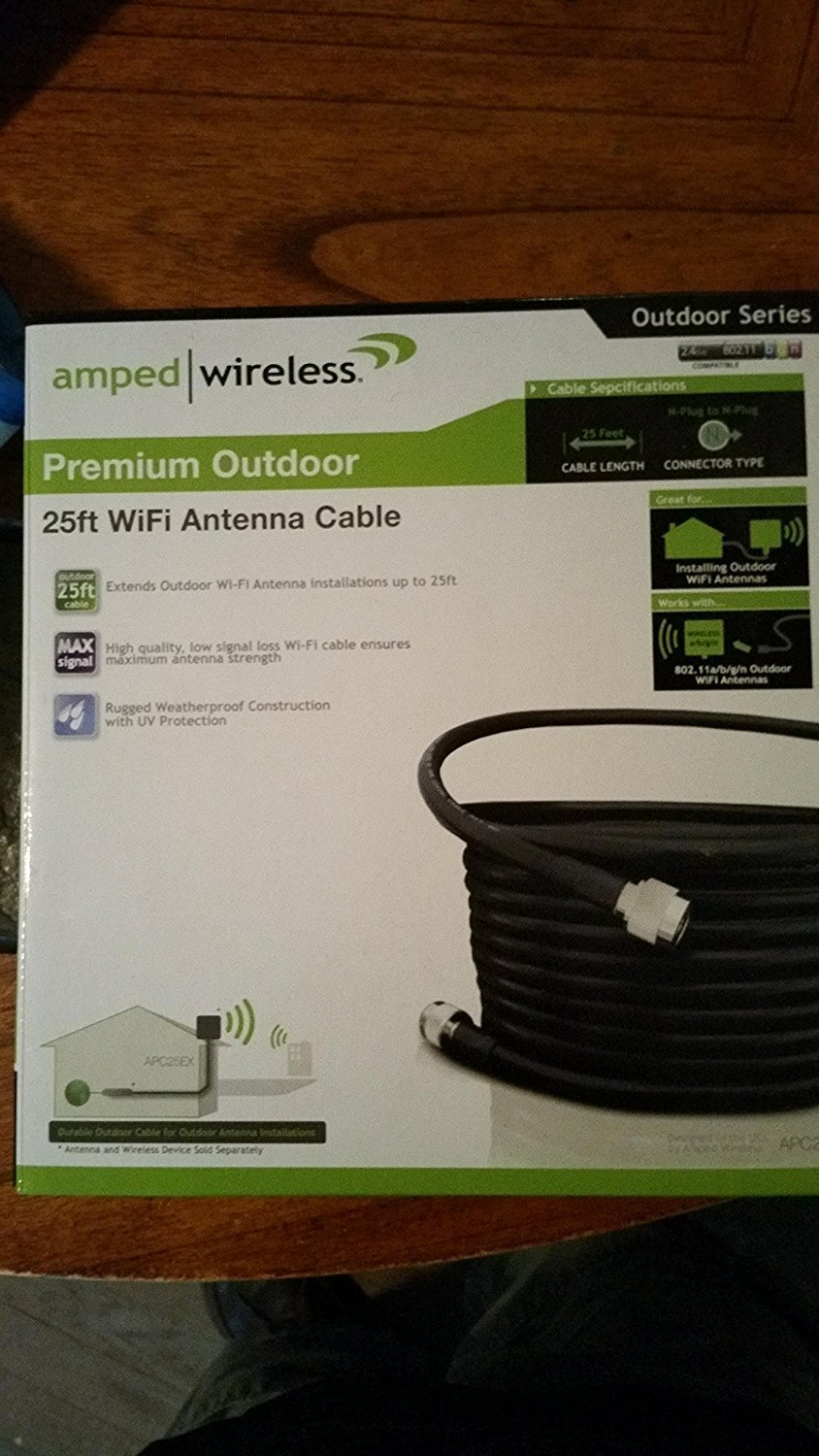 Amped Wireless APC25EX Premium 25ft Outdoor WiFi Antenna Cable by Amped Wireless