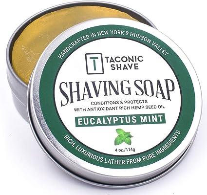Taconic Shave Barbería Calidad Eucalipto Menta jabón de afeitar con aceite de semilla de cáñamo Rica en Antioxidantes