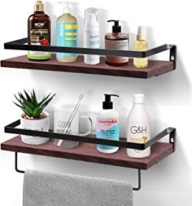 Amada Floating Shelves Decorative Wall Mounted Storage Shelves with Removable Towel Holder Paulownia Wood Set of 2 for Kitchen, Bathroom and Living Room
