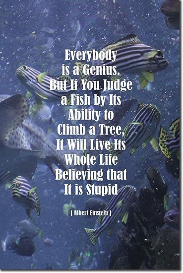 "Albert Einstein Art Print 2 /""EVERYBODY IS A GENIUS/"" Photo Poster Quote Gift"