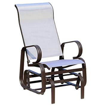 Incredible Outsunny Glider Rocking Chair Single Seater Rocker Seat Garden Swing Chair Patio Furniture Textilene Aluminum Frame Spiritservingveterans Wood Chair Design Ideas Spiritservingveteransorg
