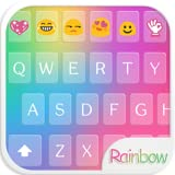 Rainbow Love Emoji Keyboard Theme offers