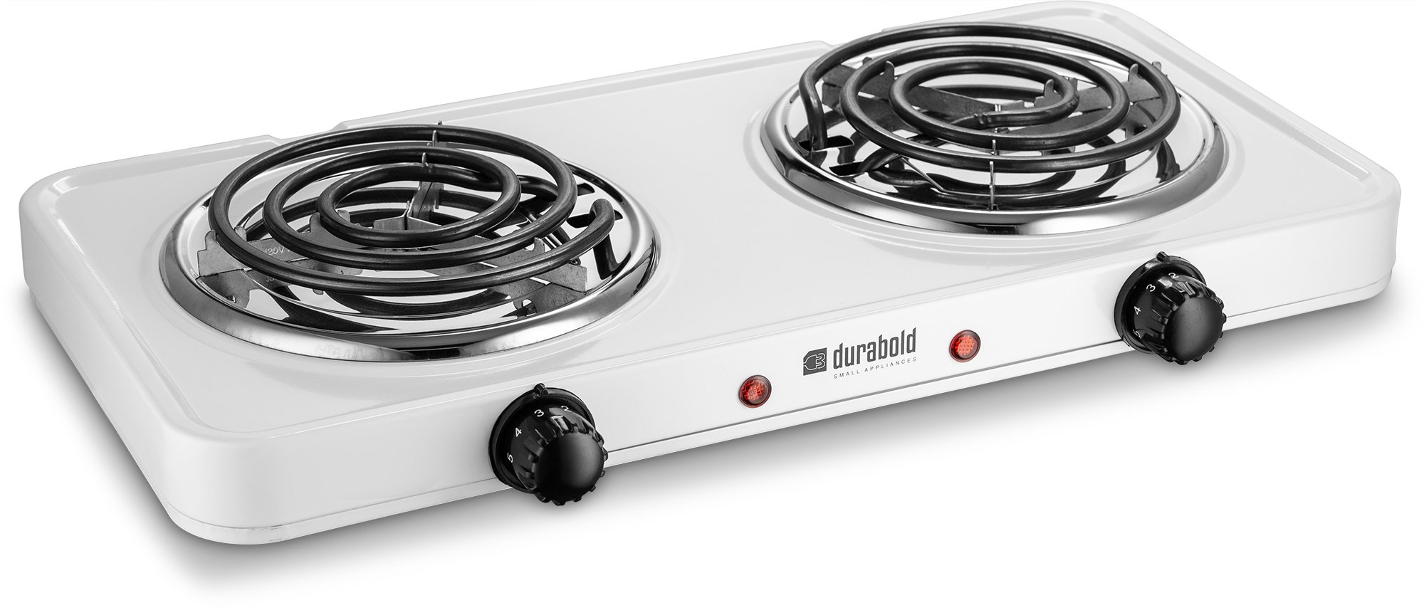 Kitchen Countertop Cast-Iron Double Burner - Stainless Steel Body – Ideal for RV, Small Apartments, Camping, Cookery Demonstrations, or as an Extra Burner – by Durabold (White)