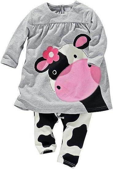 Cow,Grey,18M-6T Coralup Little Girls 2-Piece T-Shirt /& Pant Set