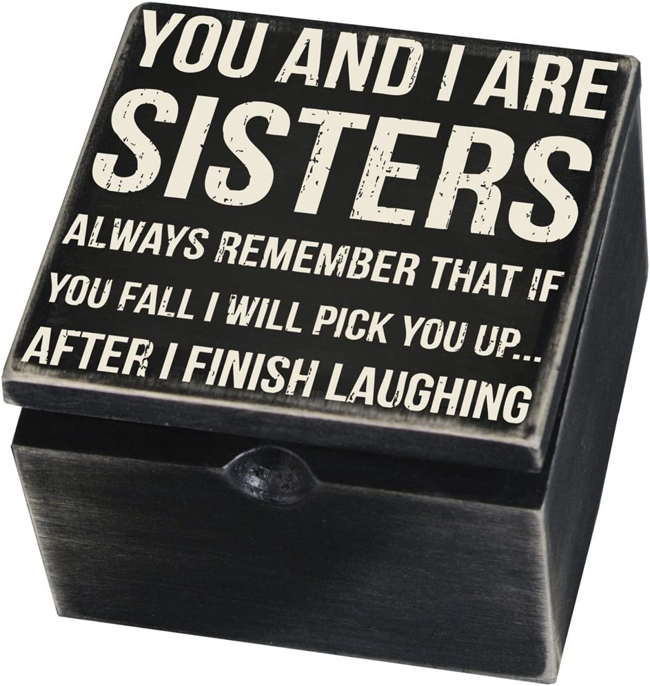 Primitives by Kathy Classic Black and White Box Sign, Hinged, Sisters Always Remember