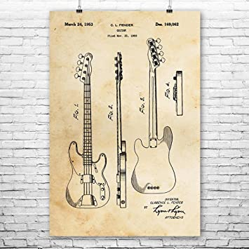 Fender Bass Guitar Poster Patent Art Print Wall Player Gift